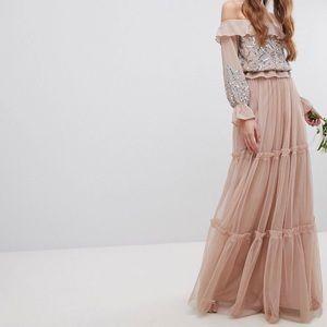 Size 6 blush mesh layer maxi skirt / New